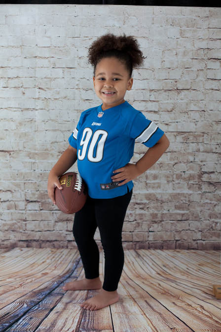 Detroit lions football jersey in a football photo shoot