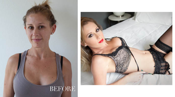 Before and after photo of a boudoir photo