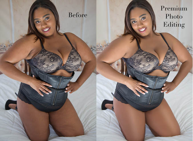 Plus-size before and after boudoir photo edit