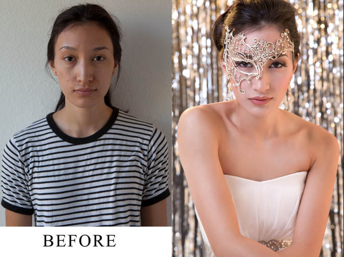 Before and after makeup for a boudoir photo shoot