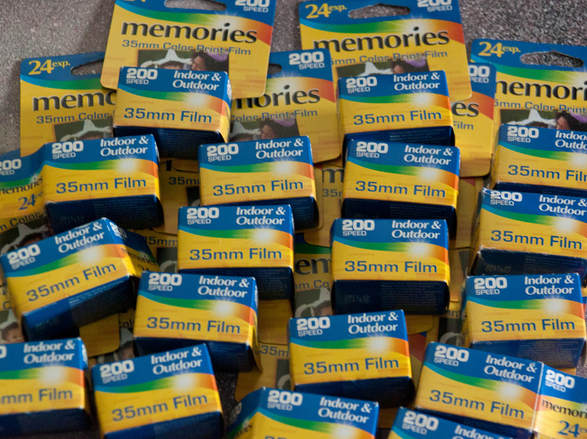 lots of boxes of 35mm film