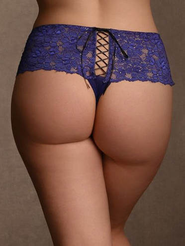 Recommended lingerie for a boudoir photo shoot. Plus-Size Lace Cheeky Lace-up Boyshorts